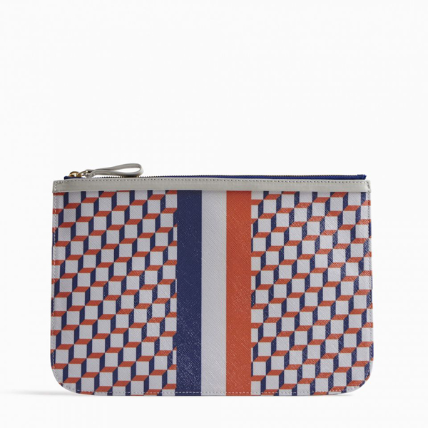Cheap PIERRE HARDY PERSPECTIVE CUBE STRIPES LARGE POUCH White & blue Online