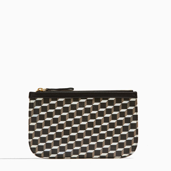 Cheap PIERRE HARDY CUBE PERSPECTIVE MEDIUM POUCH Black & white Online