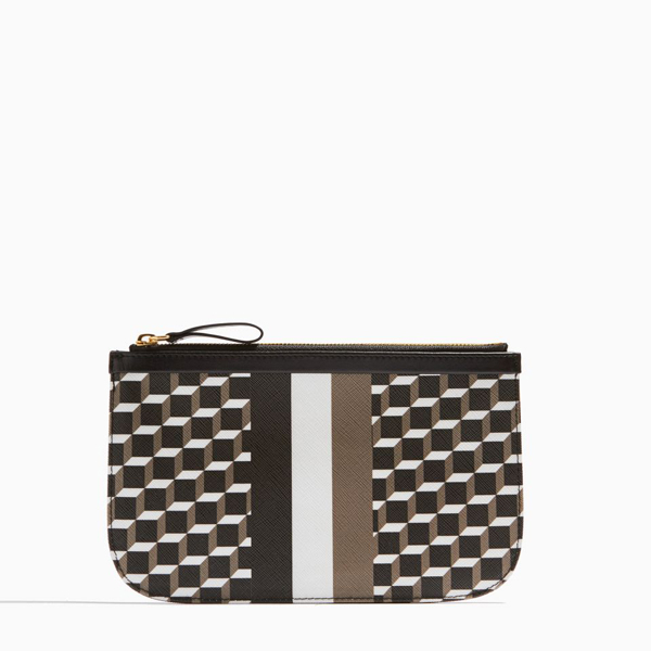 Cheap PIERRE HARDY PERSPECTIVE CUBE STRIPES MEDIUM POUCH Black & white Online