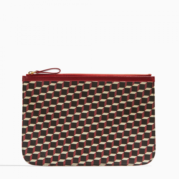 Cheap PIERRE HARDY PERSPECTIVE CUBE GRAIN LARGE POUCH black & red Online