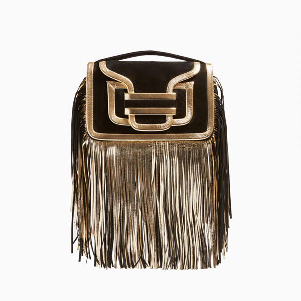 Cheap PIERRE HARDY ALPHA FRINGE CLUTCH BLACK CHAMPAGNE Online