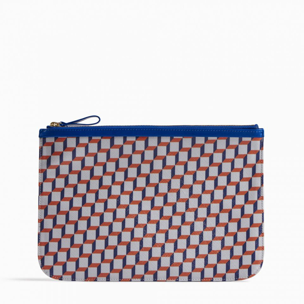 Cheap PIERRE HARDY PERSPECTIVE CUBE LARGE POUCH White blue Online