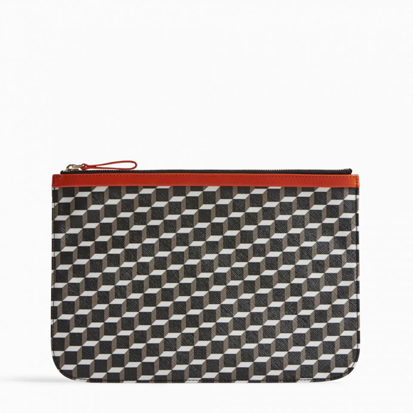 Cheap PIERRE HARDY PERSPECTIVE CUBE LARGE POUCH White black Online