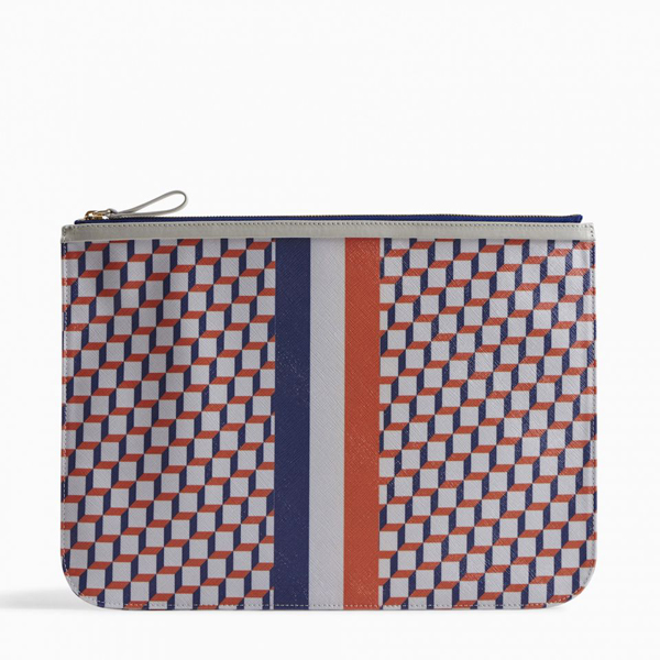 Cheap PIERRE HARDY PERSPECTIVE CUBE STRIPES EXTRA LARGE POUCH White blue Online