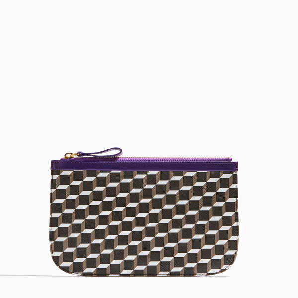 Cheap PIERRE HARDY PERSPECTIVE CUBE LAMB MEDIUM POUCH BLACK WHITE PURPLE Online