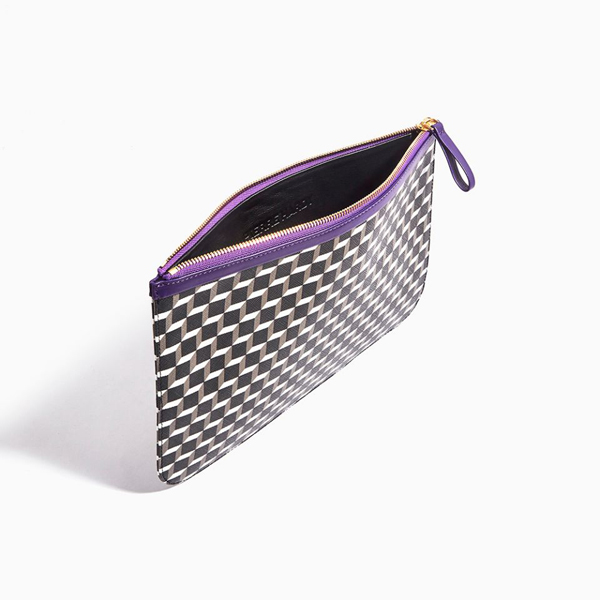 Cheap PIERRE HARDY PERSPECTIVE CUBE LARGE POUCH BLACK WHITE PURPLE Online