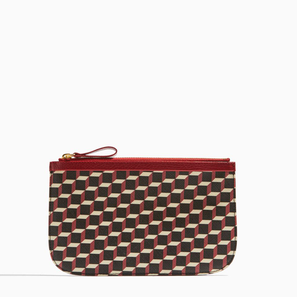 Cheap PIERRE HARDY PERSPECTIVE CUBE GRAIN MEDIUM POUCH RED Online